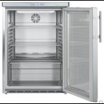 FKUv 1663-22,     Réfrigérateur encastrable sous plan avec froid ventilé, 141L brut, porte vitrée à clé, Acier Inox, H = 83cm