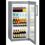 FKvsl 2613-21,     Réfrigérateurs universels – 60 cm de large, 236L brut, porte vitrée à clé, LED, ARGENTE, H = 125cm