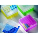 B50NY,  Storage box in Polypropylene, 130 x 130 x 50 mm, with 9 x 9 grid, for 81 Microtubes 1,2 – 2 ML, Color: Neon-Yellow, 1 Box