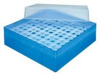 B51R,  Storage box in Polypropylene, 130 x 130 x 50mm, with 10 x 10 grid, for 100 Microtubes 0.5 ML (bulk or strip), Color: Red, 1 Box